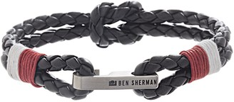 """Ben Sherman Men's 8"""" Black/Red/White Leather Braided Double Strand Bracelet with Stainless Steel Hook Knot"""