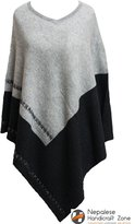 NHZ Exclusive Cashmere Poncho - Color Pure Himalayan Cashmere - Handmade in Nepal