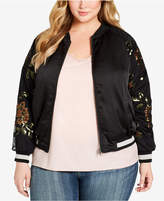Jessica Simpson Plus Size Embroidered Bomber Jacket