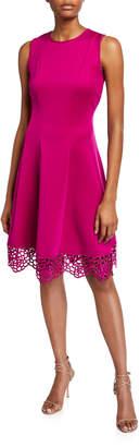 Donna Ricco Sleeveless Floral Hem Dress