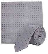 Burton Mens Grey Polka Dot Print Tie And Pocket Square Set