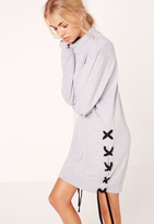 Missguided Lace Up Side and Sleeve Sweatshirt Dress Grey