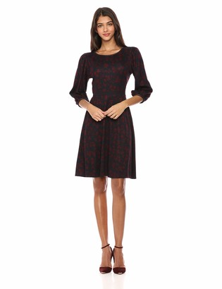 Lark & Ro Women's Three Quarter Sleeve Ponte Peasant Sleeve Dress