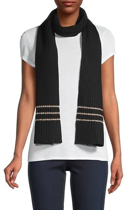 Saks Fifth Avenue Lurex-Striped Ribbed Cashmere Scarf