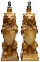 One Kings Lane Vintage Figural Lion Decanters - Set of 2 - Rose Victoria - brown/silver