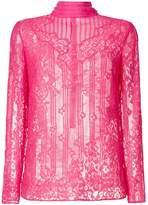 Valentino mock neck lace blouse