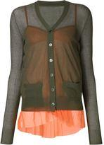 Sacai layered cardigan - women - Cotton/Nylon/Polyester - 2