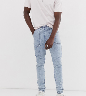 Asos Design DESIGN Tall slim jeans in acid wash blue with elasticated waist