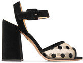 Charlotte Olympia Emma Polka-dot Mesh And Suede Sandals - Black