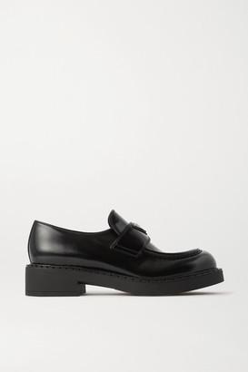 Prada Logo-embellished Glossed-leather Loafers - Black