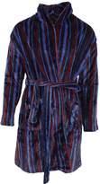 Pierre Roche Mens Super Soft Stripe Design Dressing Gown/Robe (Tea/Bue/Back)