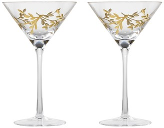 Cellar Premium Set of 2 Luxe Gold Leaf Martini Cocktail Glass