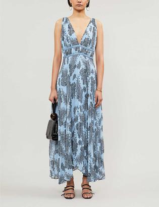 Sandro Bandana-print crepe maxi dress