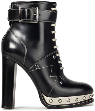 Alexander McQueen Lace-up Studded Glossed-leather Ankle Boots