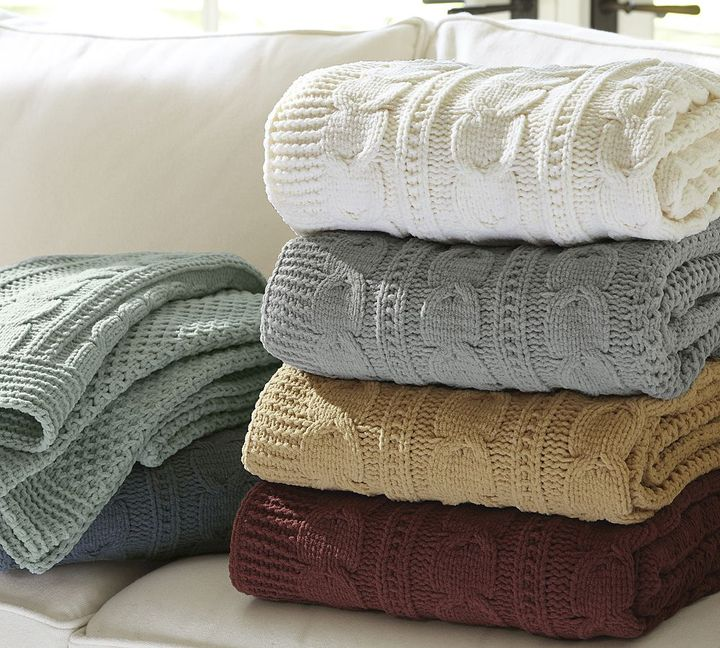 Pottery Barn Chenille Seedstitch Cable Border Knit Throw