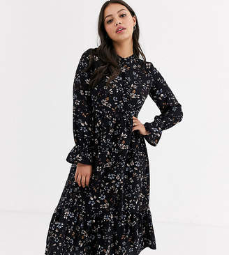 Vero Moda Petite smock midi dress in black ditsy floral-Multi