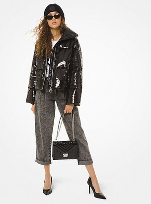 Michael Kors Sequined Cire Puffer Jacket