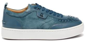 Christian Louboutin Happy Rui Spike-embellished Suede Trainers - Mens - Blue