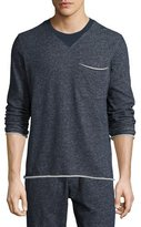 ATM Anthony Thomas Melillo Brushed-Back Terry Raw-Cut Sweatshirt, Navy