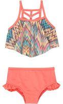 River Island Mini girls coral zig zag print bikini