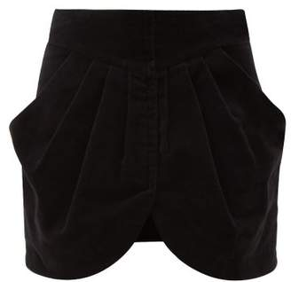 Isabel Marant Beliah Pleated Cotton Moleskin Mini Skirt - Womens - Black
