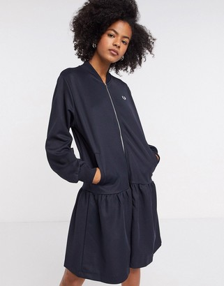 Fred Perry bomber dress with dropped hem in navy
