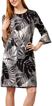 Phase Seven Women's Career Dresses LW758 - Black & White Leaf Bell-Sleeve Shift Dress - Women