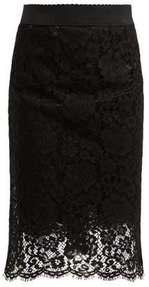 Dolce & Gabbana Floral Lace Pencil Skirt - Womens - Black