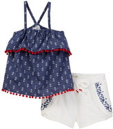Jessica Simpson Pompom Tank & Short 2-Piece Set (Toddler & Little Girls)