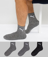 Puma 3 Pack Short Crew Quarter Socks In Multi 231011001207