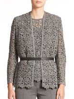 Escada Belted Floral-Lace Knit Jacket