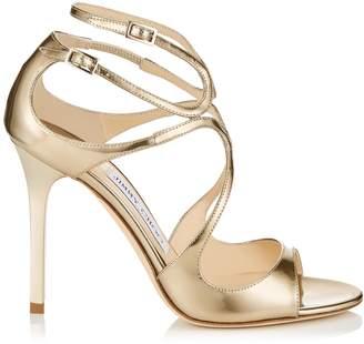 Jimmy Choo LANG Gold Liquid Mirror Leather Sandals