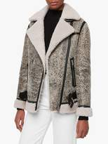AllSaints Rei Shearling Coat, Aries White/Black