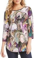 Karen Kane Painted-Floral-Print Top