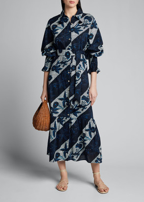 Figue Indiana Floral-Striped Full-Sleeve Shirtdress