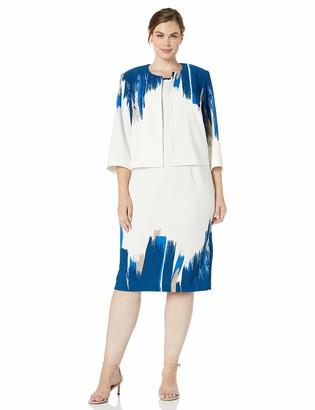 Maya Brooke Women's Plus Size Asymmetrical Paint Print Jacket Dress