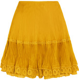 Chloé Layered Plissé Silk-organza Mini Skirt - Mustard