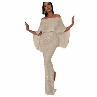 Oksea Women Elegant Party Dress Sexy Tassel Sequins One Shoulder Bodycon Dresses Slim Ladies Evening Long Dresses Gold
