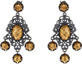 Bottega Veneta Oxidised-silver and gold-plated drop earrings