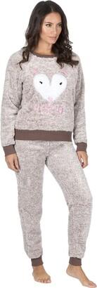 BRANDBUYS Ladies Soft & Cosy Fleece Pyjamas (Mink Fox X-Large)