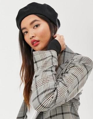 Asos Design DESIGN wool beret-Black