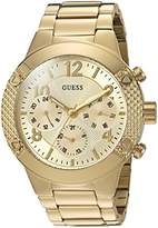 GUESS Women's U0849L2 Sporty Gold-Tone Stainless Steel Watch with Multi-function Dial and Pilot Buckle