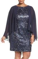 Alex Evenings Plus Size Women's Capelet Lace Shift Dress