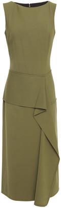 Victoria Beckham Draped Wool-twill Midi Dress
