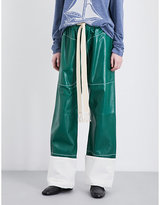 Loewe Wide-leg leather drawstring trousers