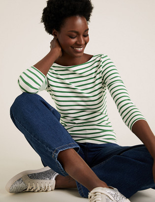 Marks and Spencer Cotton Striped Fitted 3/4 Sleeve Top