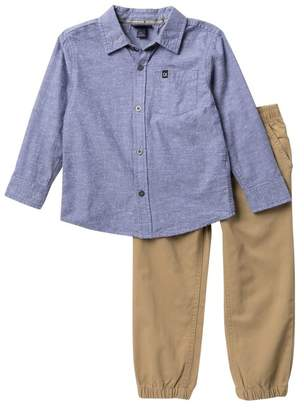 Calvin Klein Slub Woven Shirt & Pants Set (Toddler Boys)