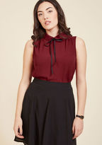 ModCloth Feedback At It Sleeveless Top in Merlot in S