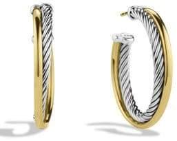 David Yurman Crossover Medium Hoop Earrings with Gold