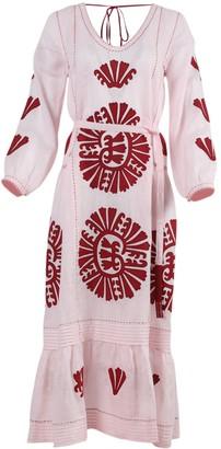 Vita Kin Camilia Pleated Linen Midi Dress Pink